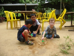 Kids can have fun with the simplest things and play together easily, without a common language.