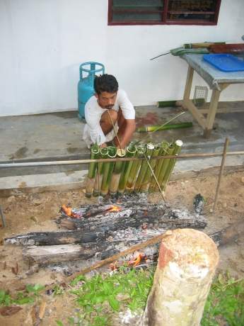 Bamboo makes the perfect roasting vessel. These are filled with sticky rice, red beans and coconut milk.