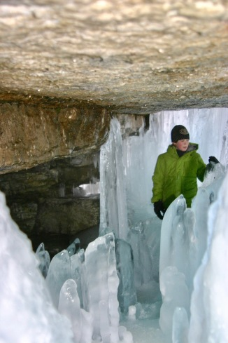 Exploring behind the frozen waterfalls was a real treat.