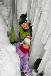 The kids loved squeezing between the giant icicles of the canyon's waterfalls.