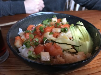 Spicy Salmon Bowl... with local, wild, sashimi salmon, spicy teriyaki sauce, daikon, pickled ginger, avocado and rice.