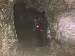 We explored some of the lower passageways with our headlamps.
